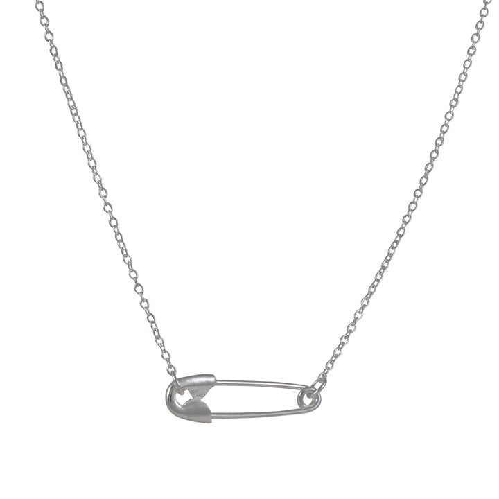 "TASHI - 18"" Sterling Silver Safety Pin Necklace"