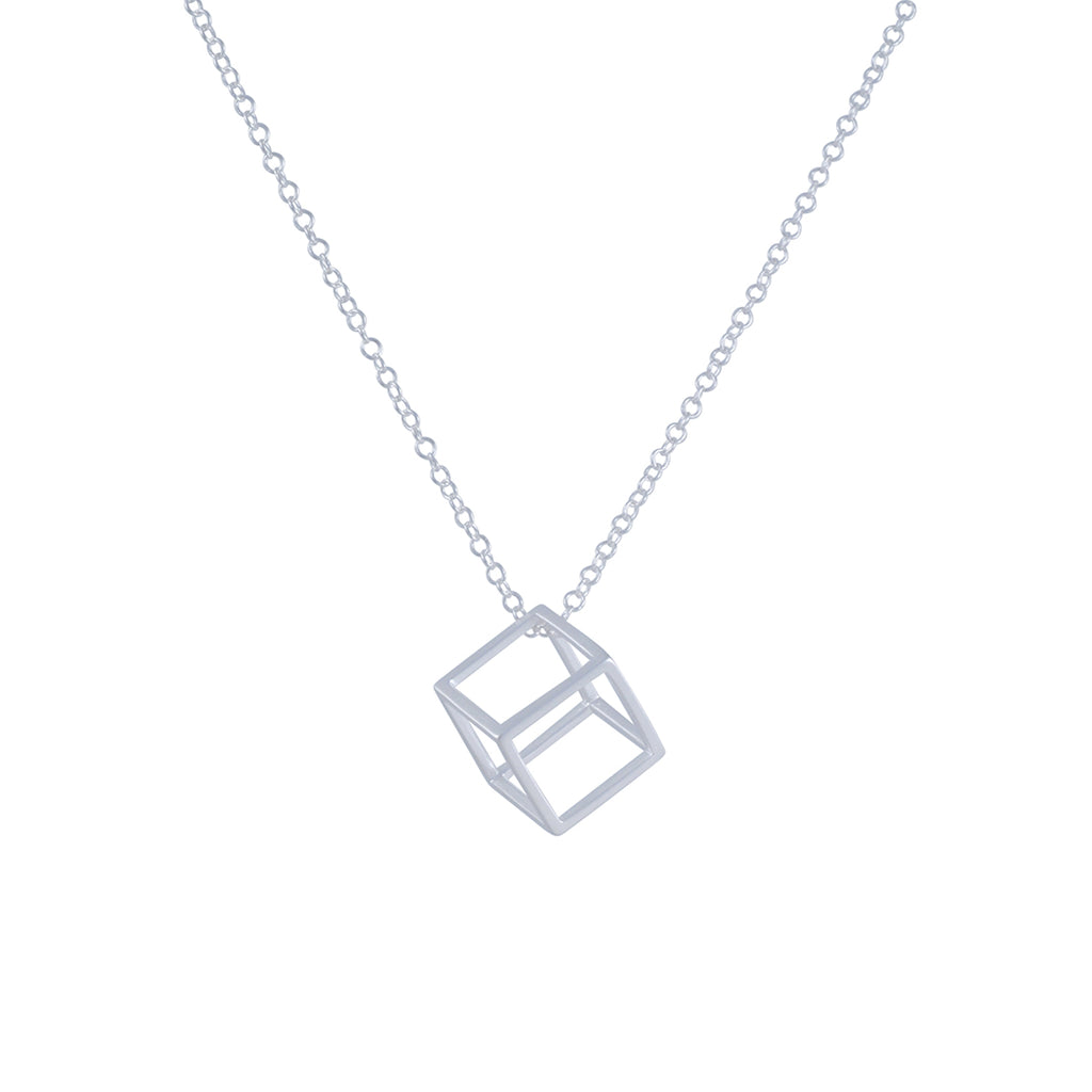TASHI - Long Chain Necklace with Open Cube