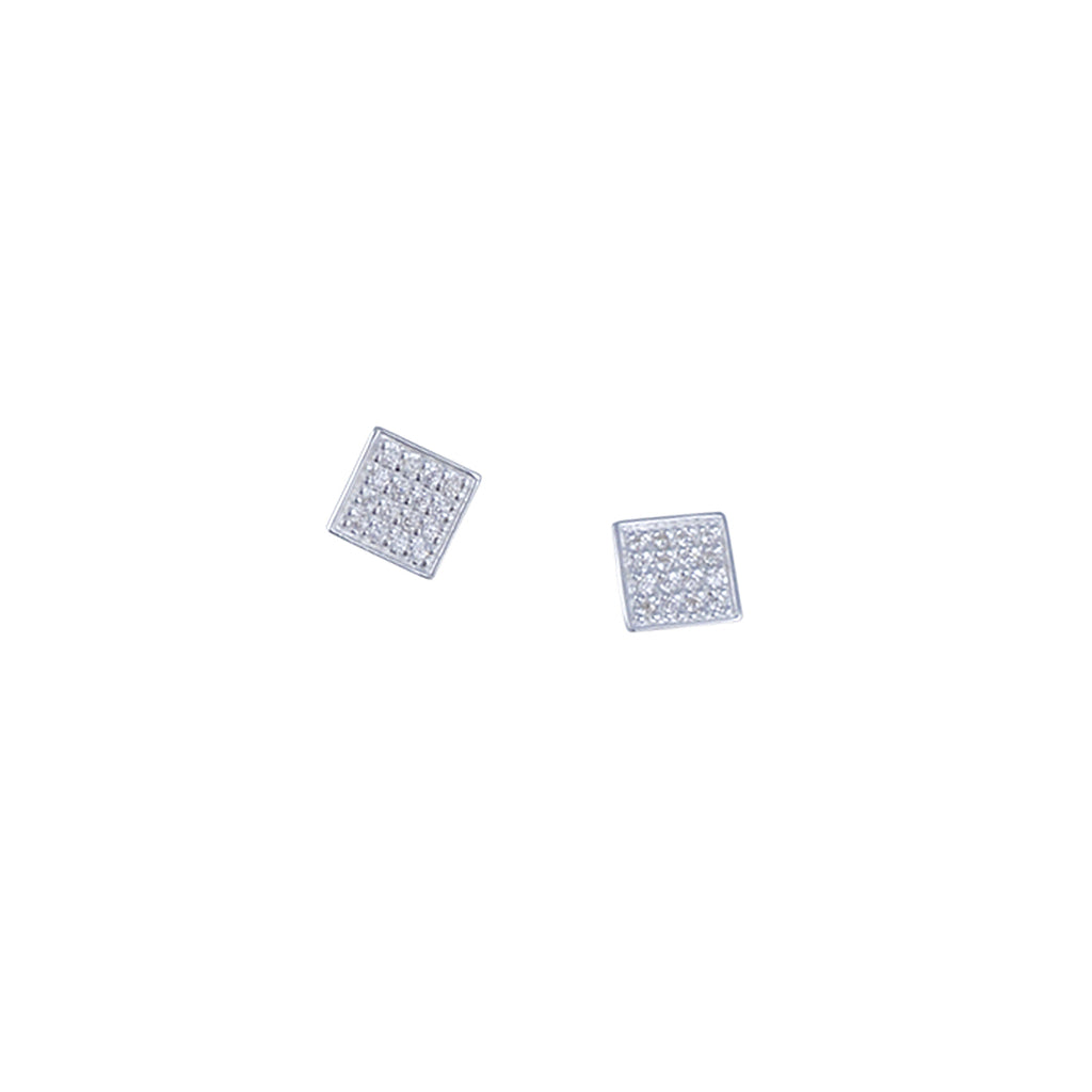 TASHI - Pave Square Post Earrings in Sterling Silver