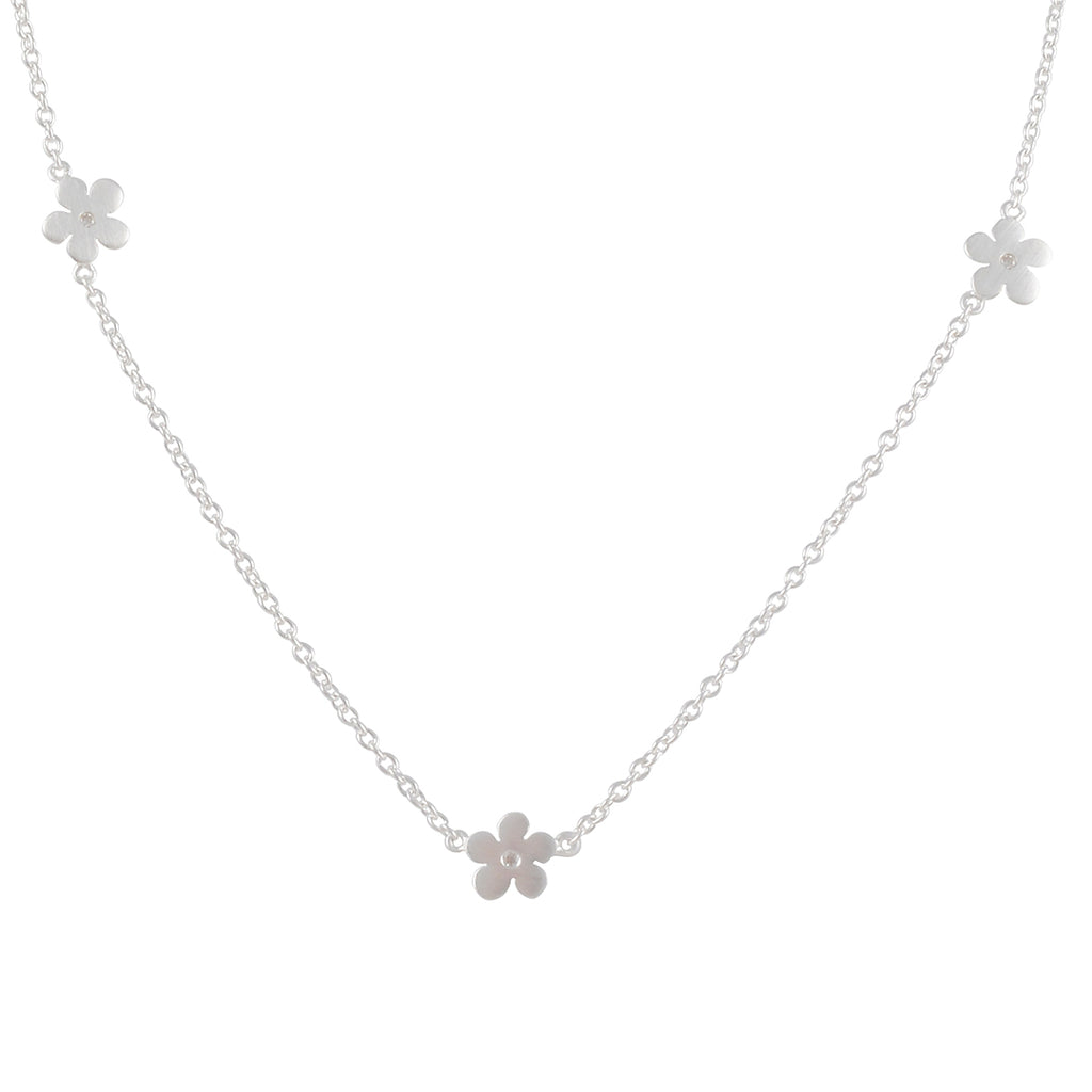 TASHI - Daisy Chain Necklace with CZs  in Sterling Silver