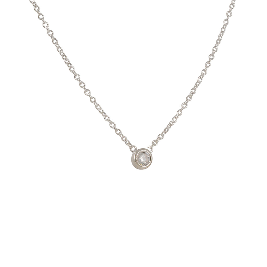 TASHI - Chain Necklace with Bezel Set CZ in Sterling Silver