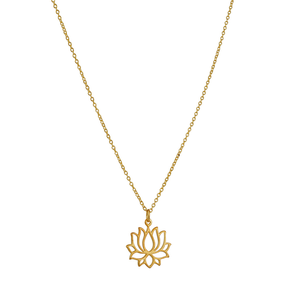 TASHI - Small Lotus Blossom Pendant Necklace in Gold Vermeil