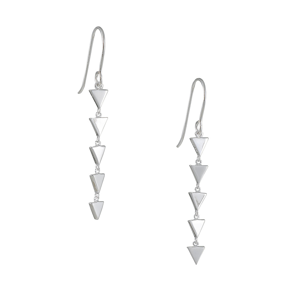 TASHI - Five Triangles Earrings in Shiny Sterling Silver