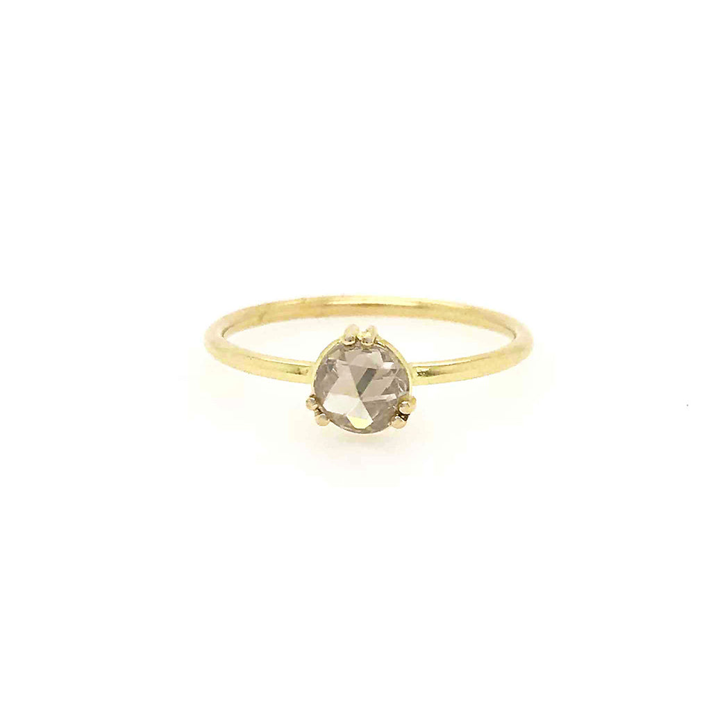 TURA SUGDEN- One of a Kind Champagne Rose Cut Diamond in 18K Gold Six Prong Setting