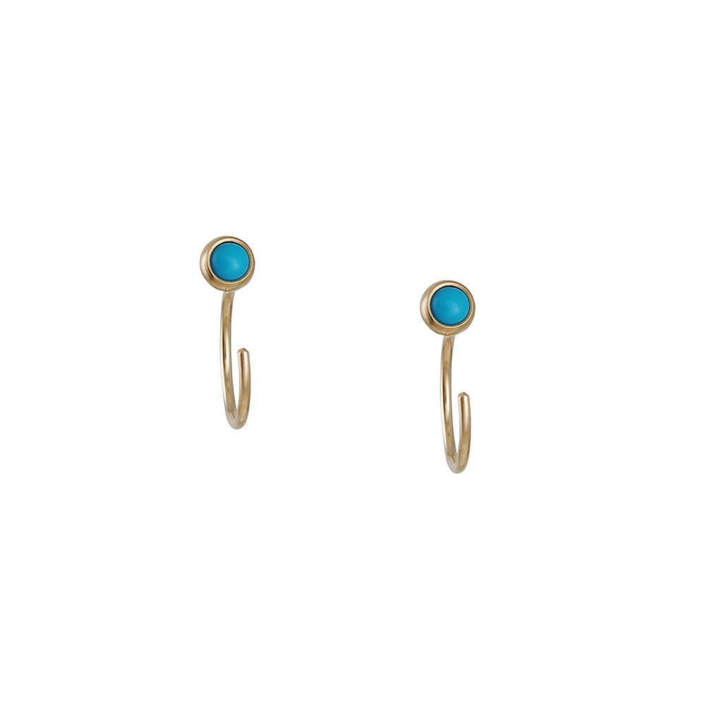 ZOE CHICCO - Tiny Open Hoop Earrings with Turquoise