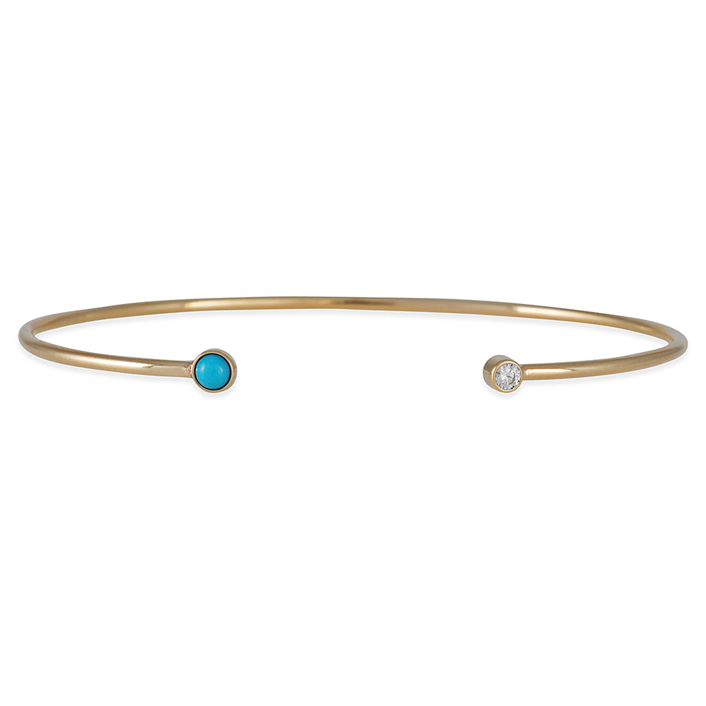 Zoe Chicco - Turquoise and Diamond Open Cuff