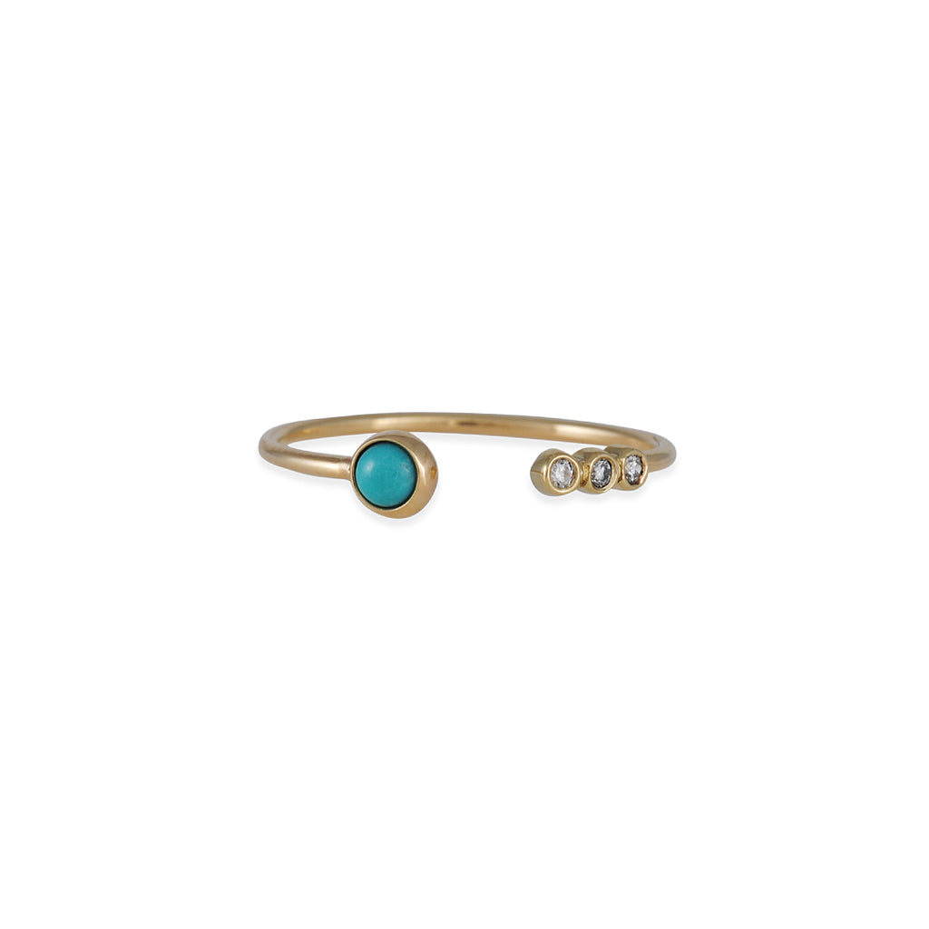 Zoe Chicco - Turquoise and Diamond Open Ring