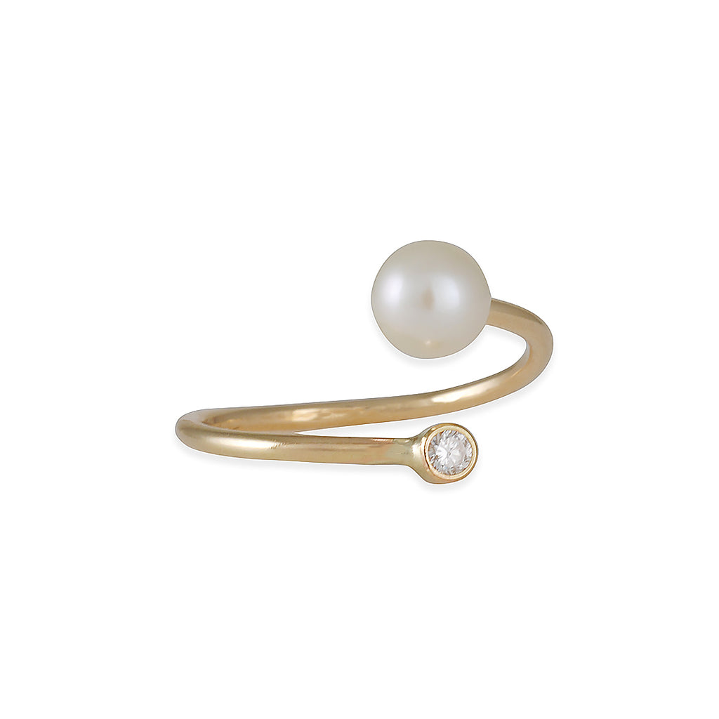ZOE CHICCO - Cultured Pearl and Diamond Bypass Ring, Size 6