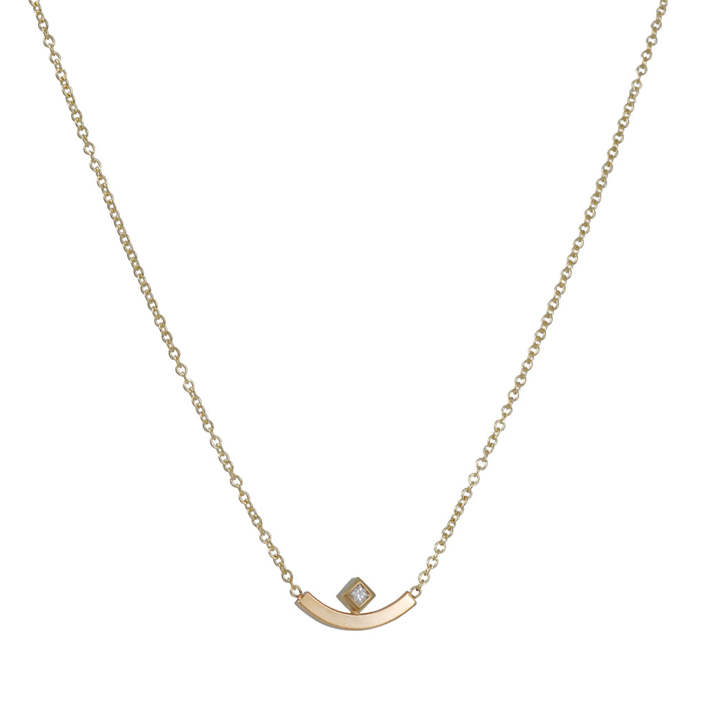 Zoe Chicco - Curved Bar with Diamond Necklace