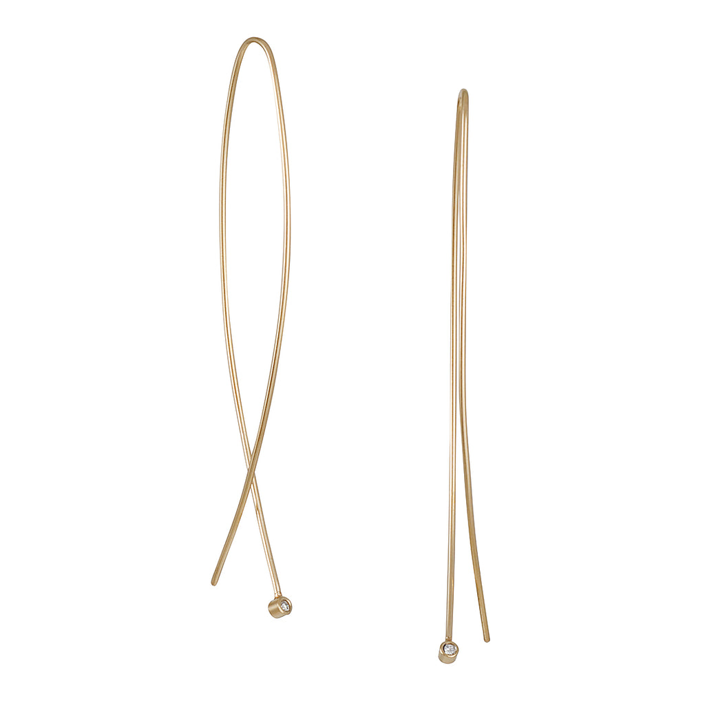 ZOE CHICCO - Extra Long Wire Dangle Earrings with Diamonds