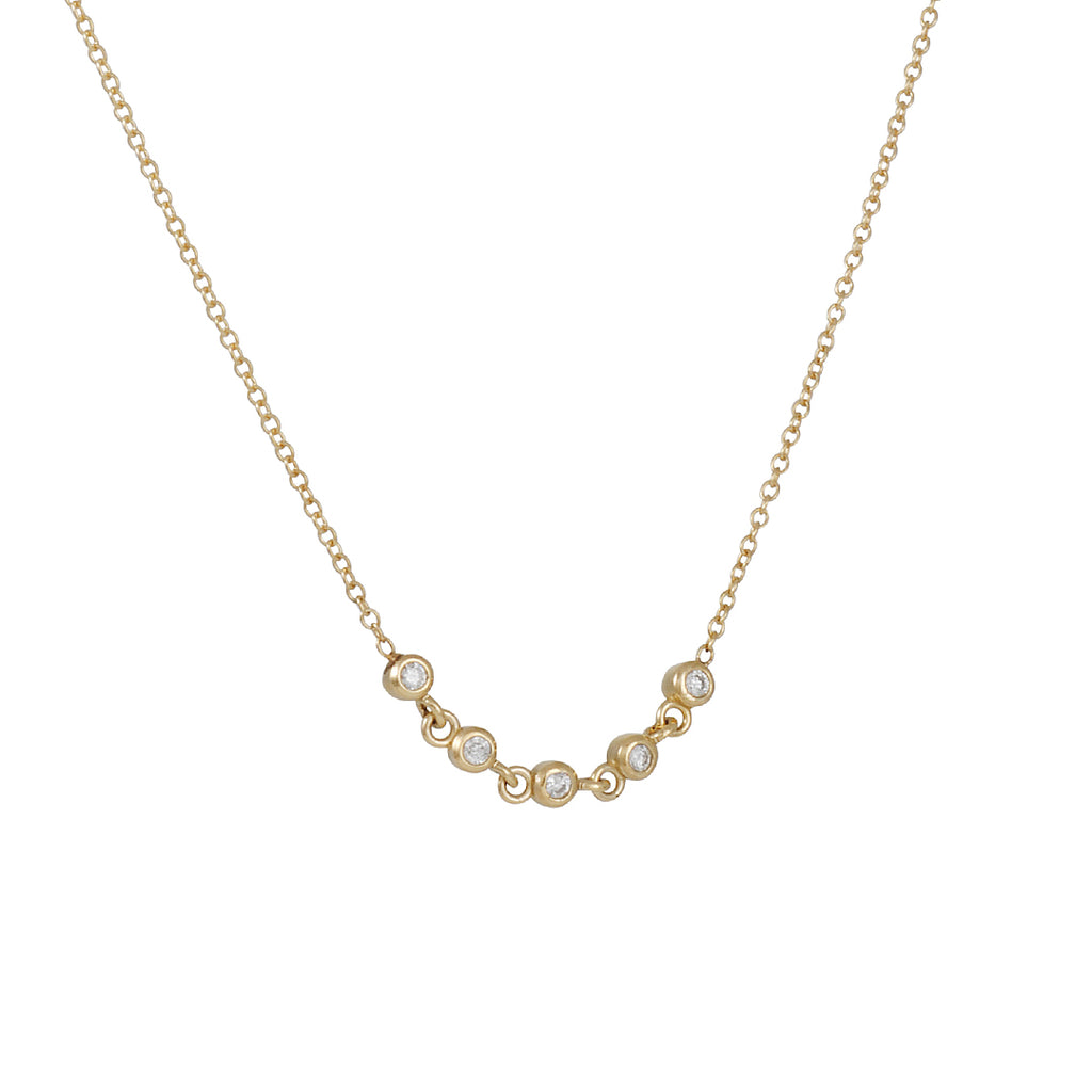 ZOE CHICCO - Linked Diamonds Quintet Necklace in 14K Gold