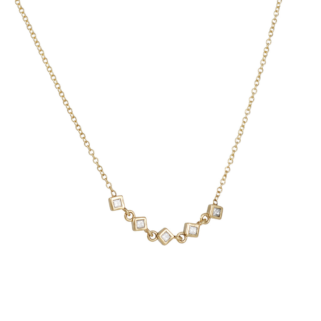 ZOE CHICCO - Linked Princess Diamonds Quintet Necklace in 14K Gold