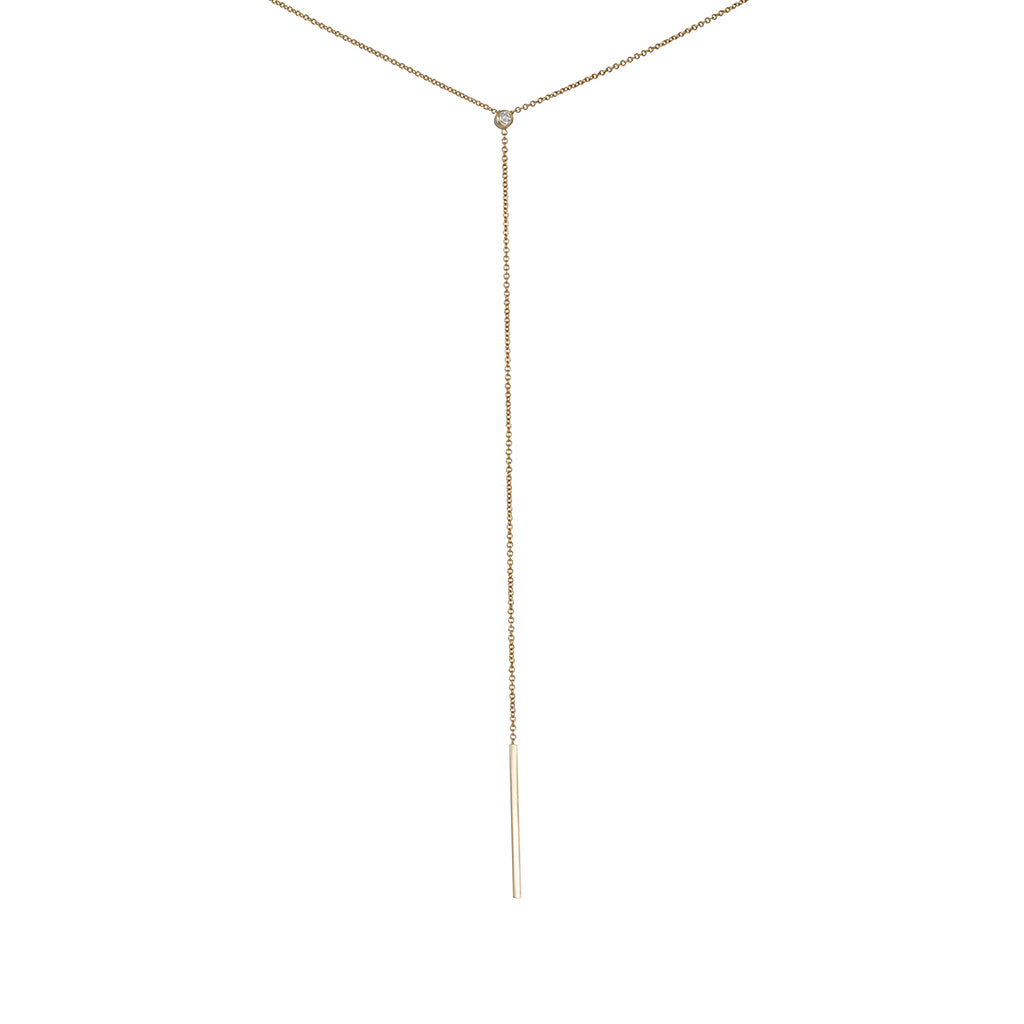 ZOE CHICCO - Long Lariat Bar Necklace with Diamond in 14K Gold