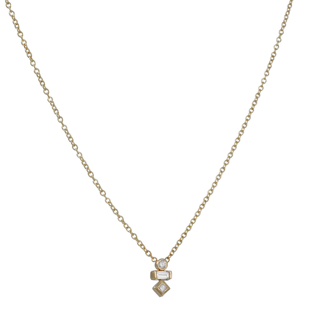 ZOE CHICCO - Stacked Diamond Trio Necklace on 14K Gold Chain