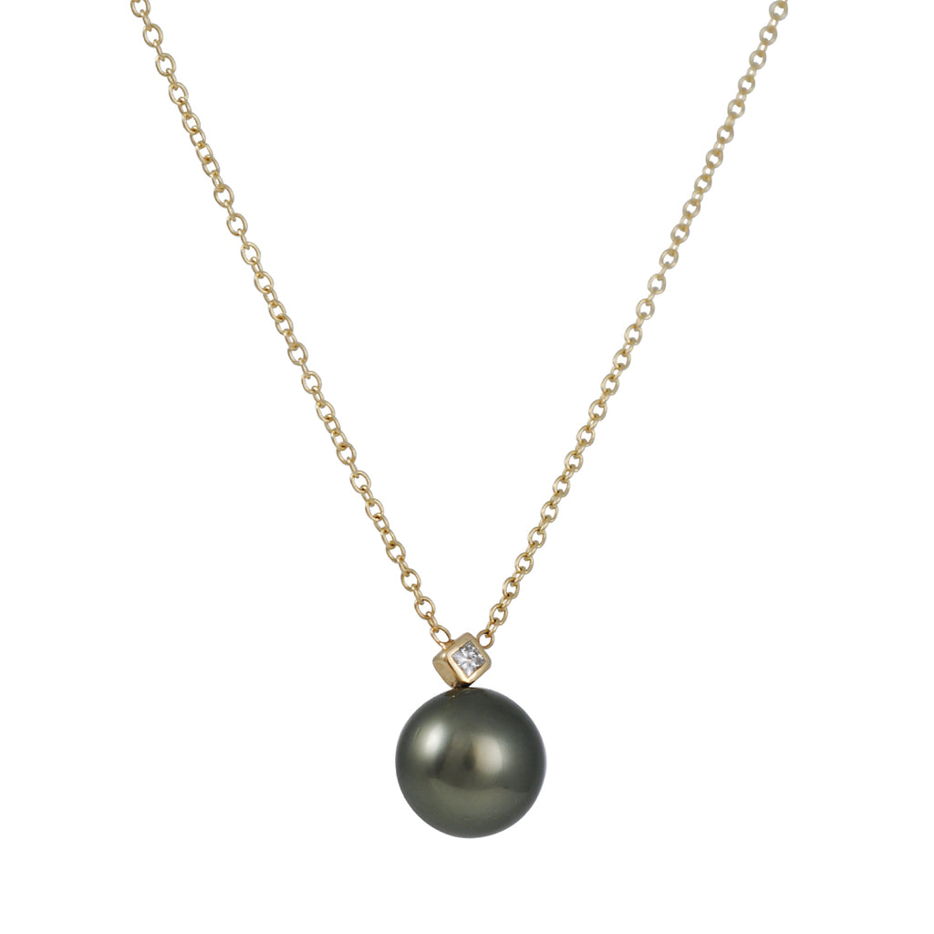 ZOE CHICCO - Tahitian Pearl Necklace with Diamond on 14K Gold Chain