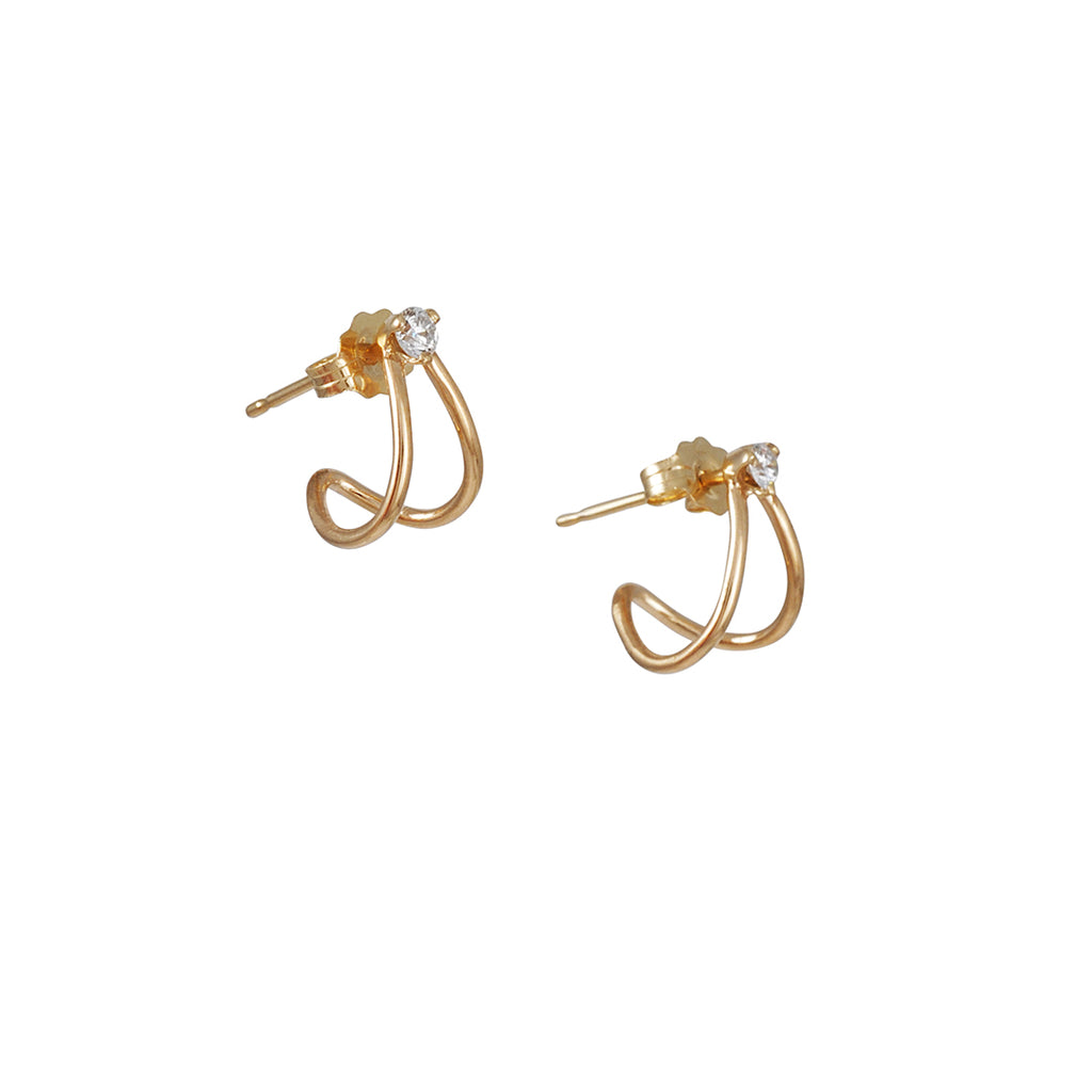 ZOE CHICCO - Thin Split Hug Earrings with Diamond