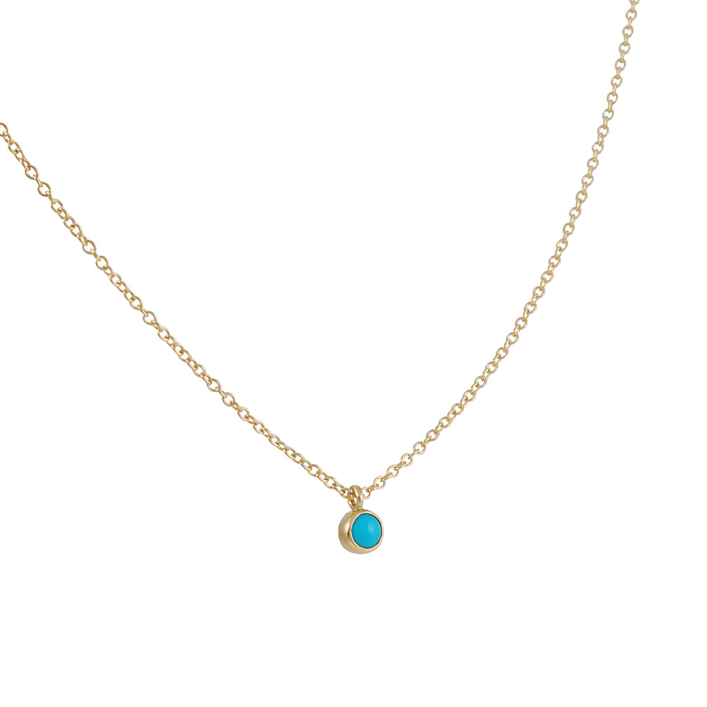 ZOE CHICCO - Tiny Turquoise Pendant Necklace in 14K Gold