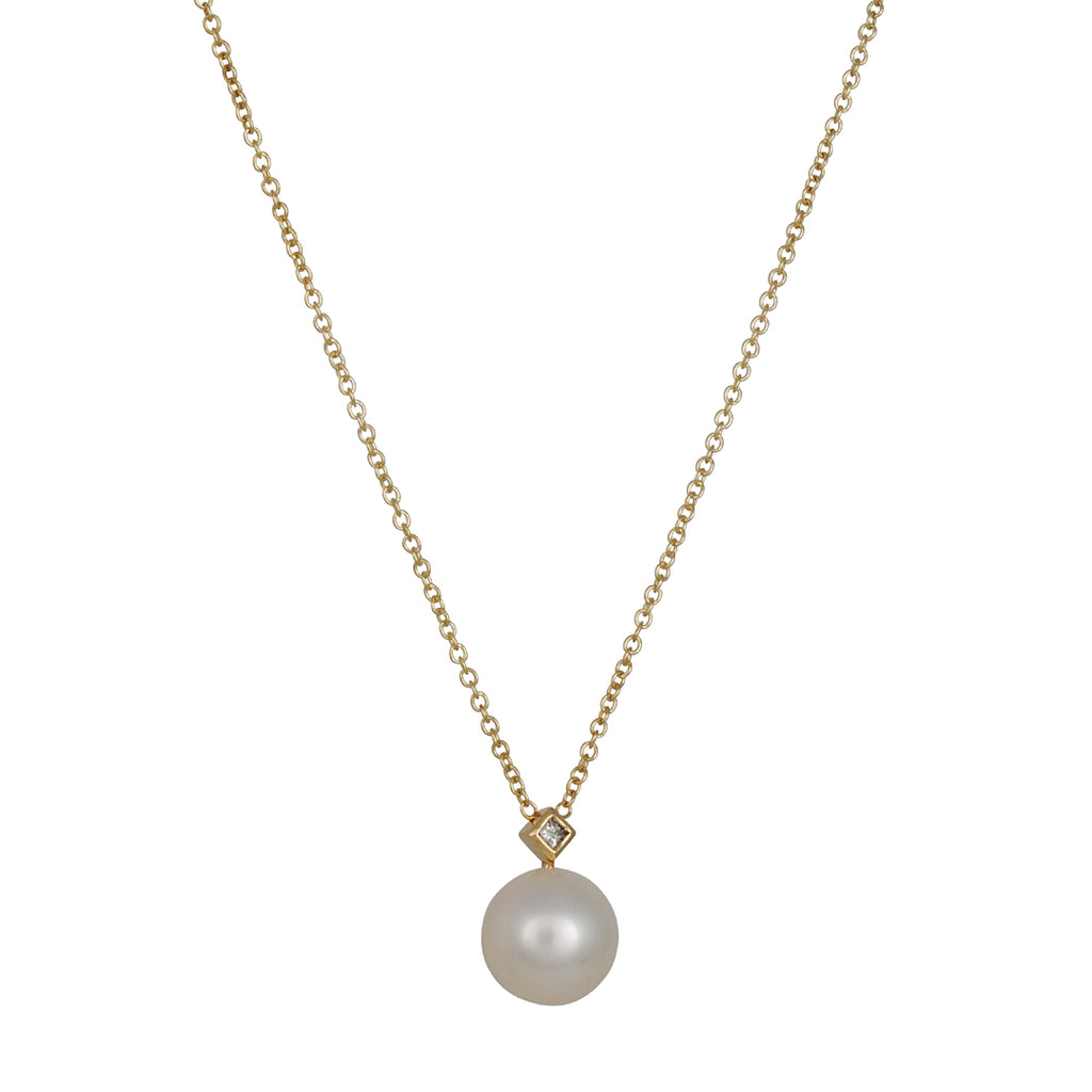 Zoe Chicco - White Pearl Necklace with Diamond