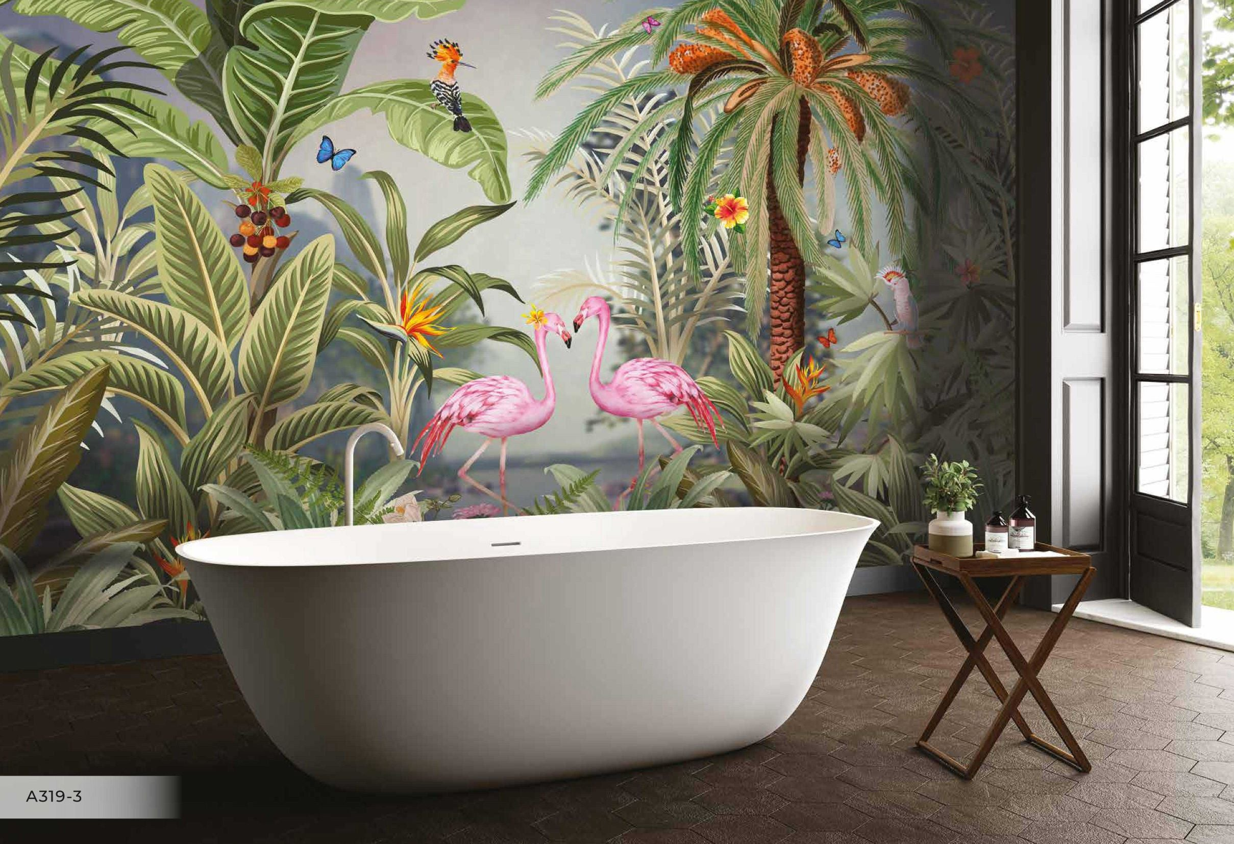 Papier peint Flamant rose & Jungle amazon - Papier peint - muralconcept