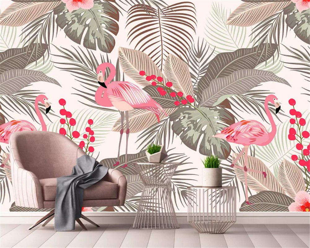 Papier peint Jungle & Flamant Rose - Papier peint - muralconcept