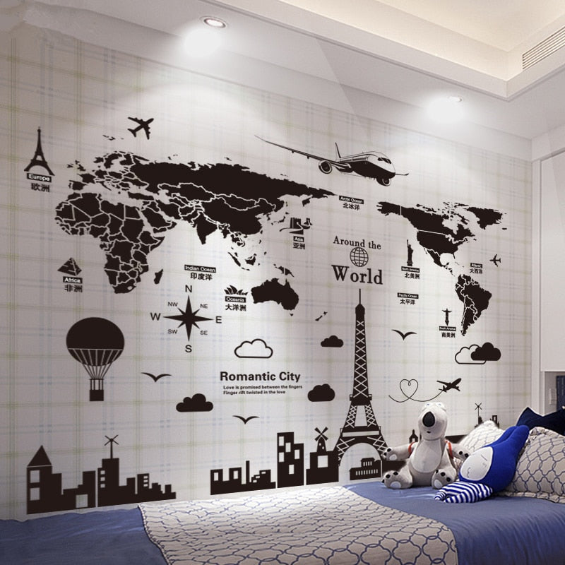 Sticker Mural - Carte du monde Voyage - stickers - muralconcept
