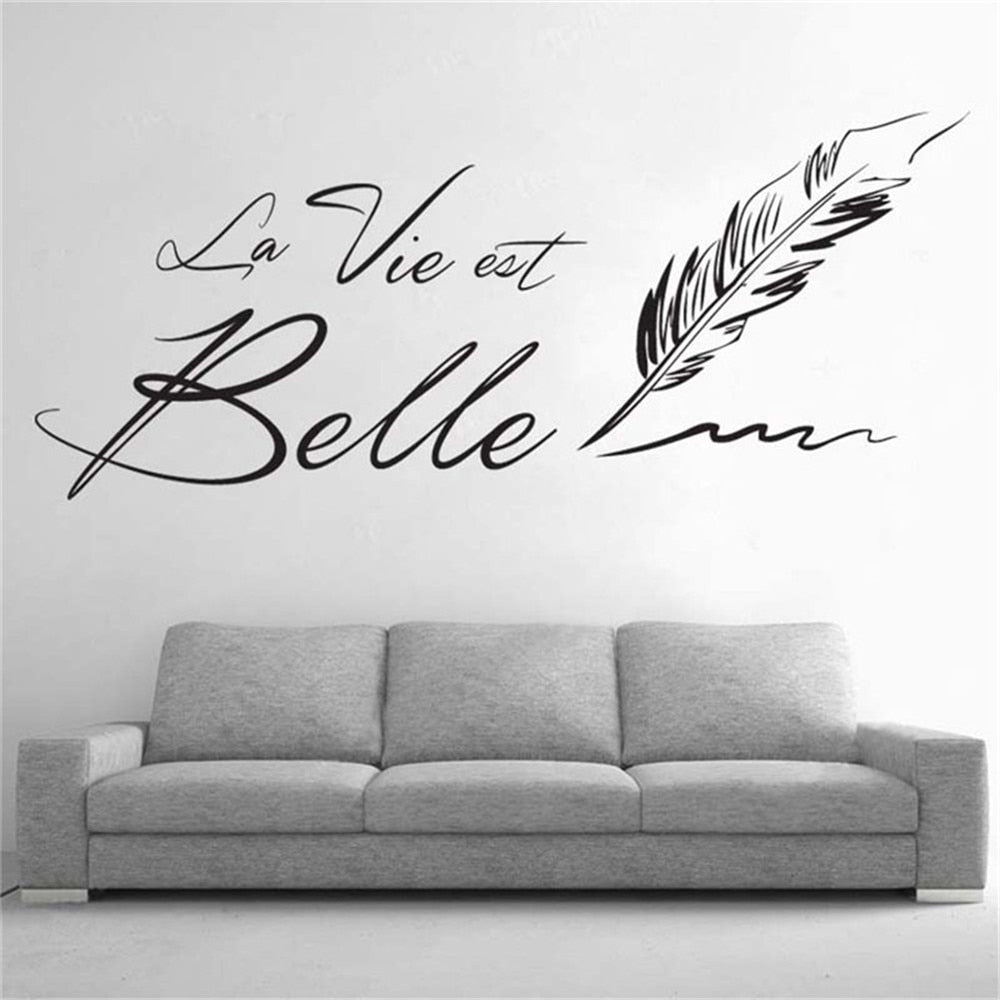 Sticker Mural - Citation la vie est belle - stickers - muralconcept