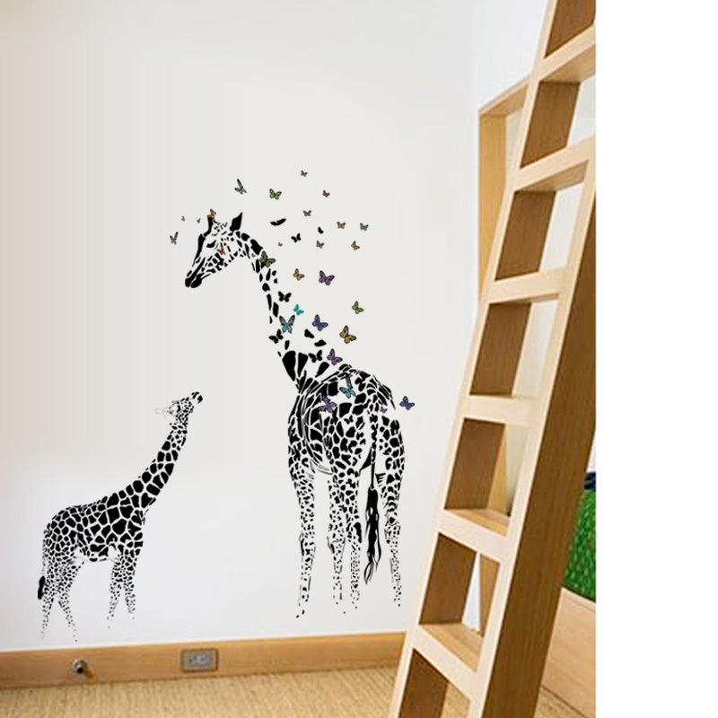 Sticker Mural - Girafe et Papillon - stickers - muralconcept