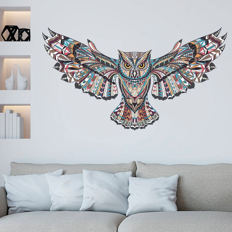 Sticker Mural - Hibou Ethnique - stickers - muralconcept