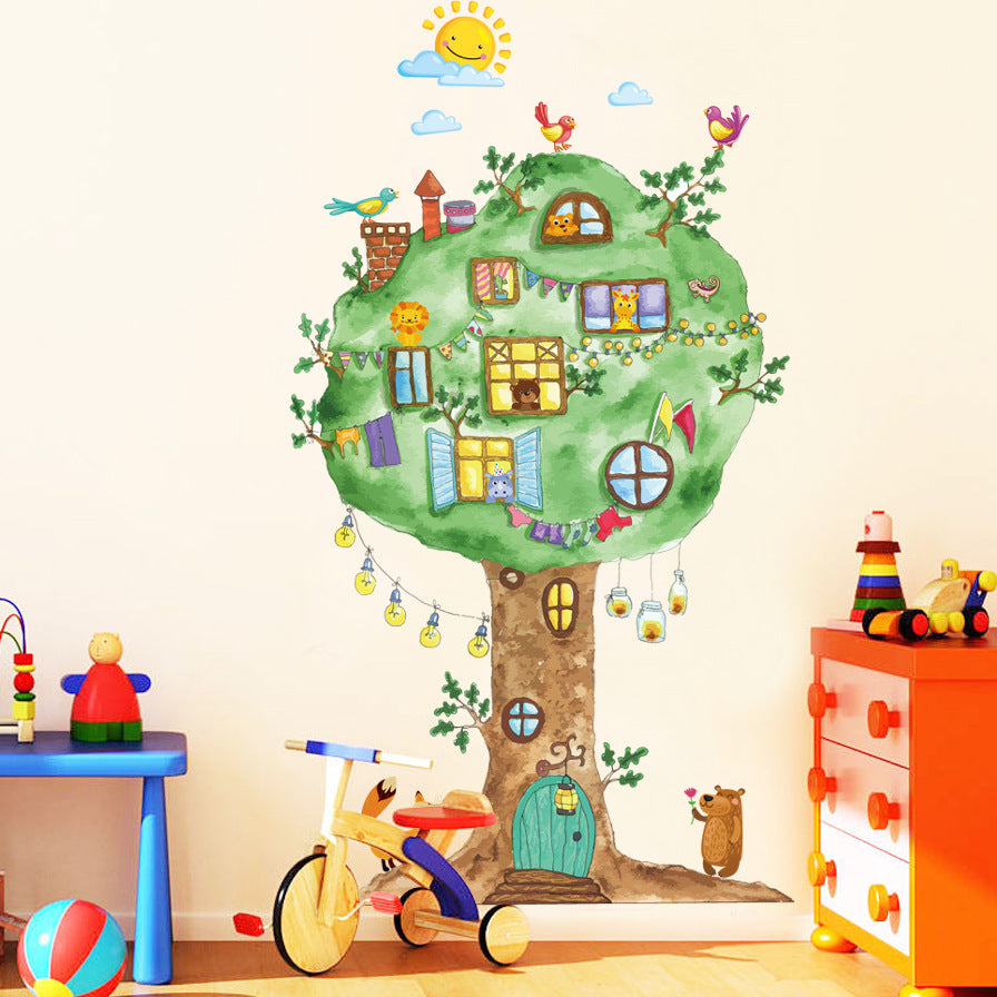 Sticker Mural - Arbre Colorée & Rigolo - stickers - muralconcept
