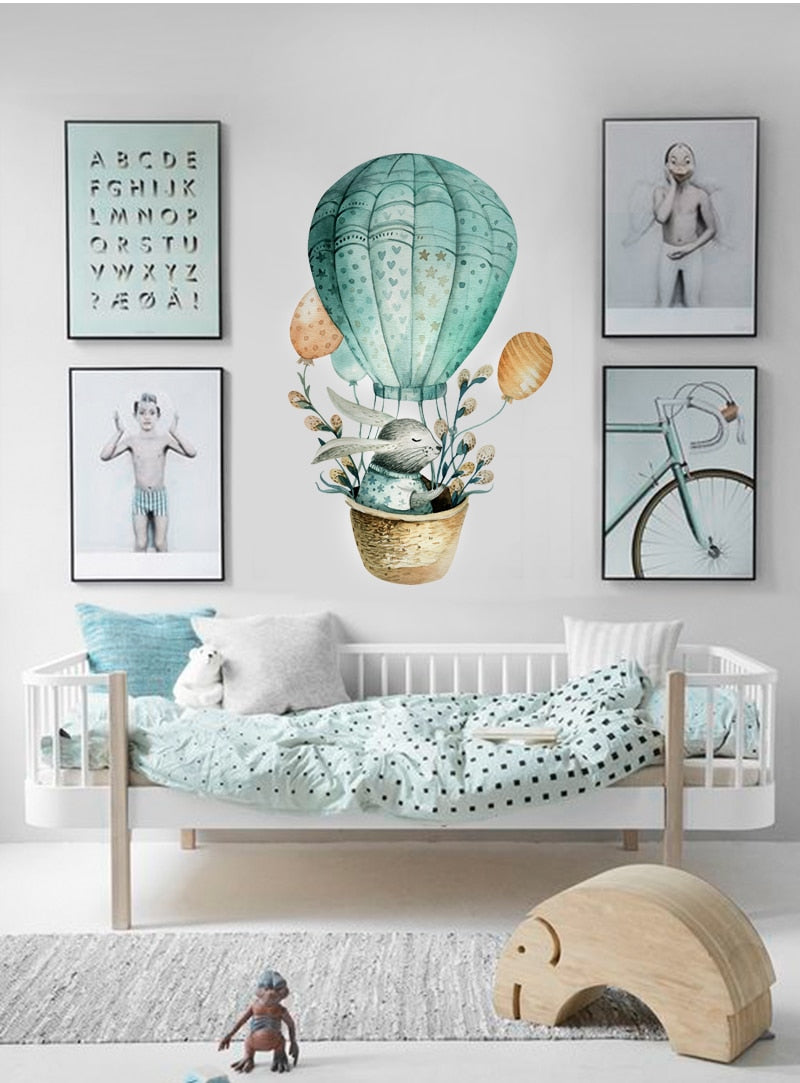Sticker Mural - Ballon volant et lapin - stickers - muralconcept
