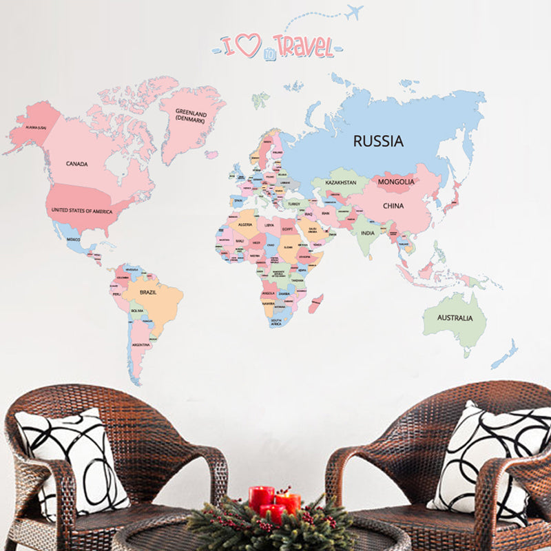 Sticker Mural - Carte du monde Educative - stickers - muralconcept