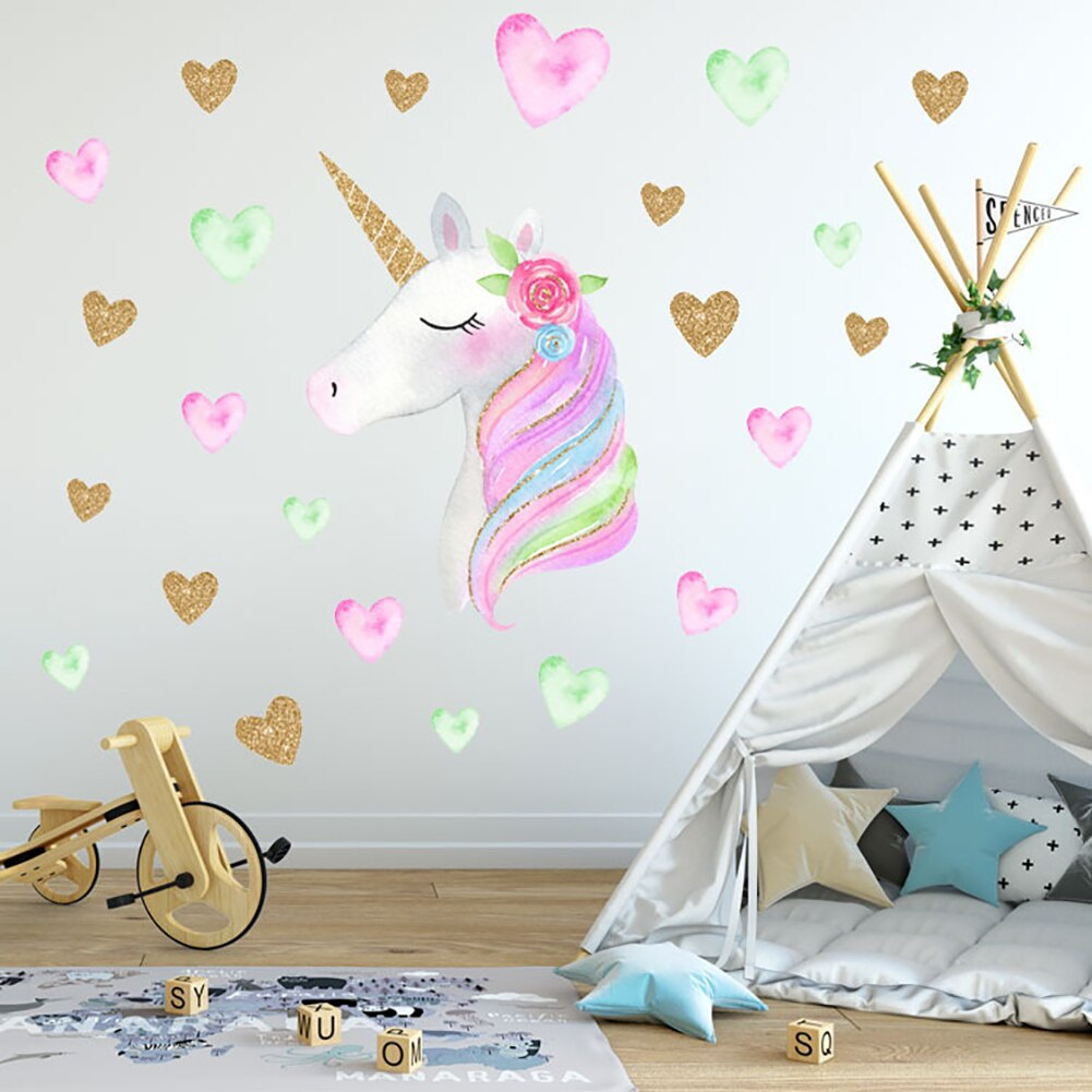 Sticker Mural - Licorne Pailletée - stickers - muralconcept