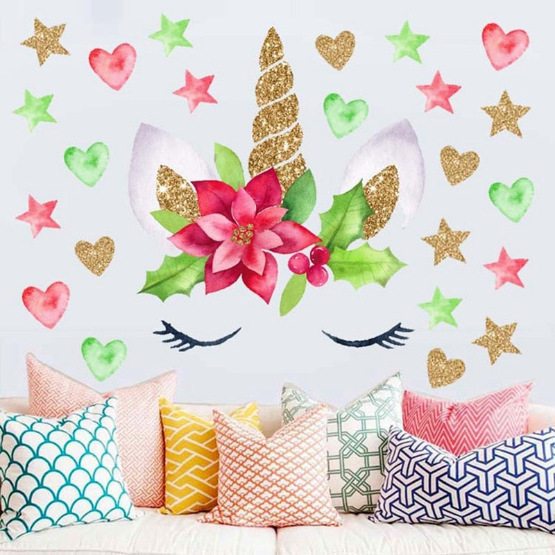 Sticker Mural - Girly Licorne Pailletée - stickers - muralconcept