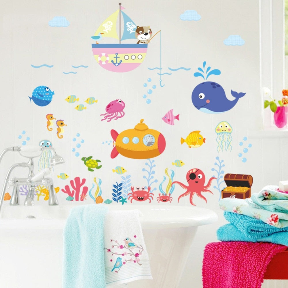 Sticker Mural - Les animaux de la mer - stickers - muralconcept