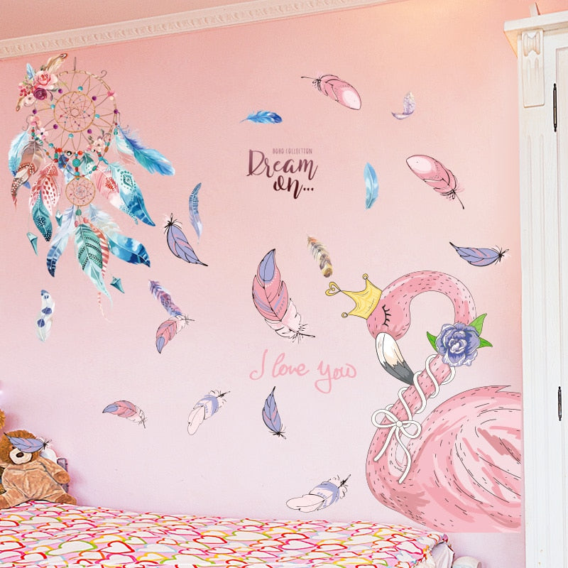 Sticker Mural - Attrape Rêve & Flamant Rose - stickers - muralconcept