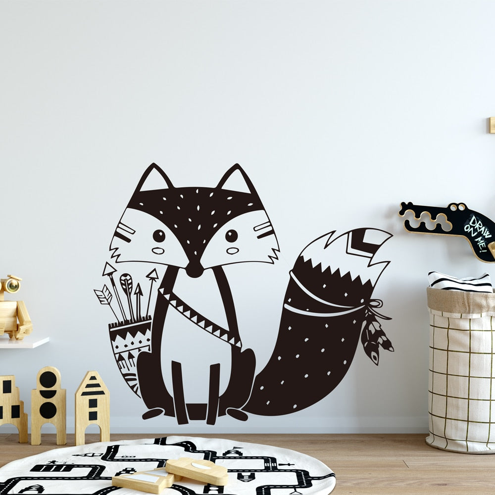 Sticker Mural - Renard Tribal Craquant - stickers - muralconcept