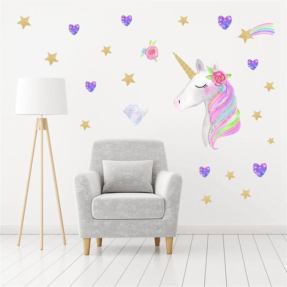 Sticker Mural - Licorne Diamant Pailletée - stickers - muralconcept