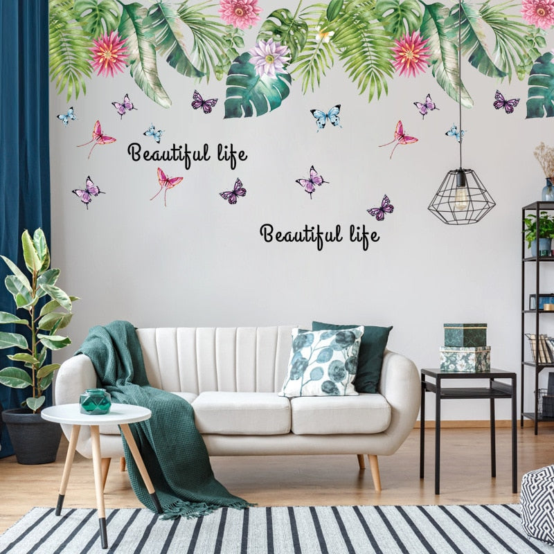 Sticker Mural - Jungle Tropicale Colorée - stickers - muralconcept