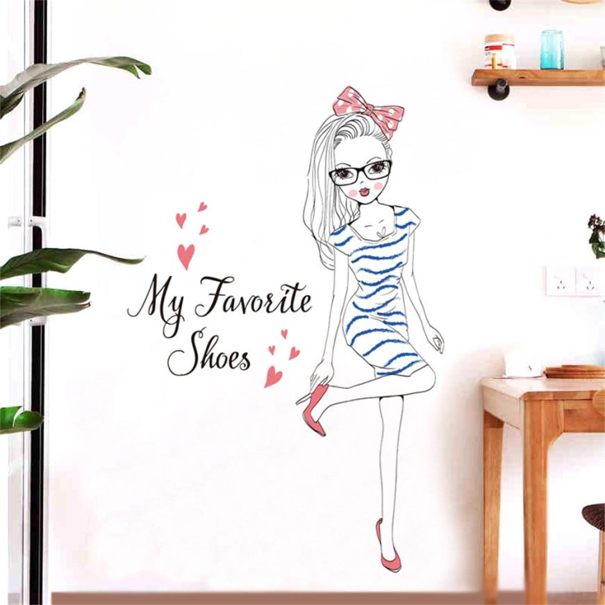 Sticker Mural - Jeune fille Mode - stickers - muralconcept