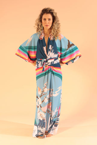 Kimono Izadora Longa Estampa Rainbow, Waves e Birds