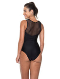 Body Quesia Decote V com Tule Preto