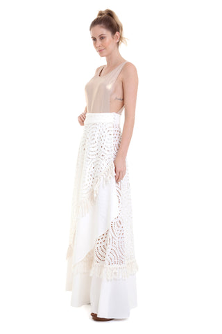 Saia Longa Transpassada Mix Renda Off White