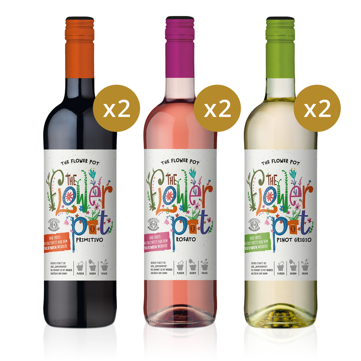 "THE FLOWER POT® ""Flower Power"" Bio Probierpaket 0,75 L (6er Karton Biowein)"