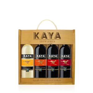 KAYA® Fairtrade Holzkiste 0,75 L (4 Sorten Wein in Holzschatulle)