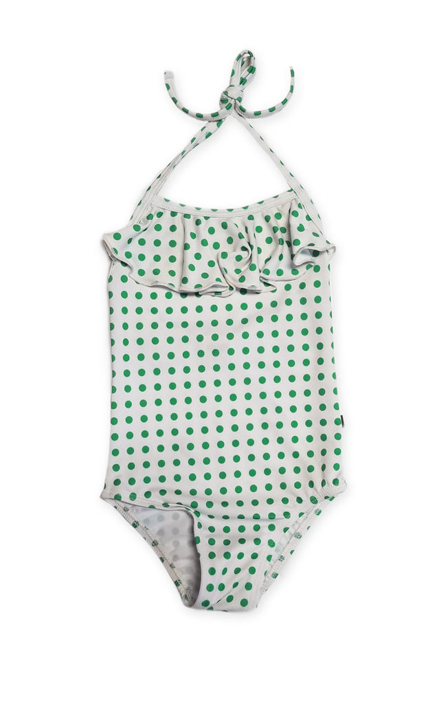 Oeuf Green Polka Dot Halter Swimsuit