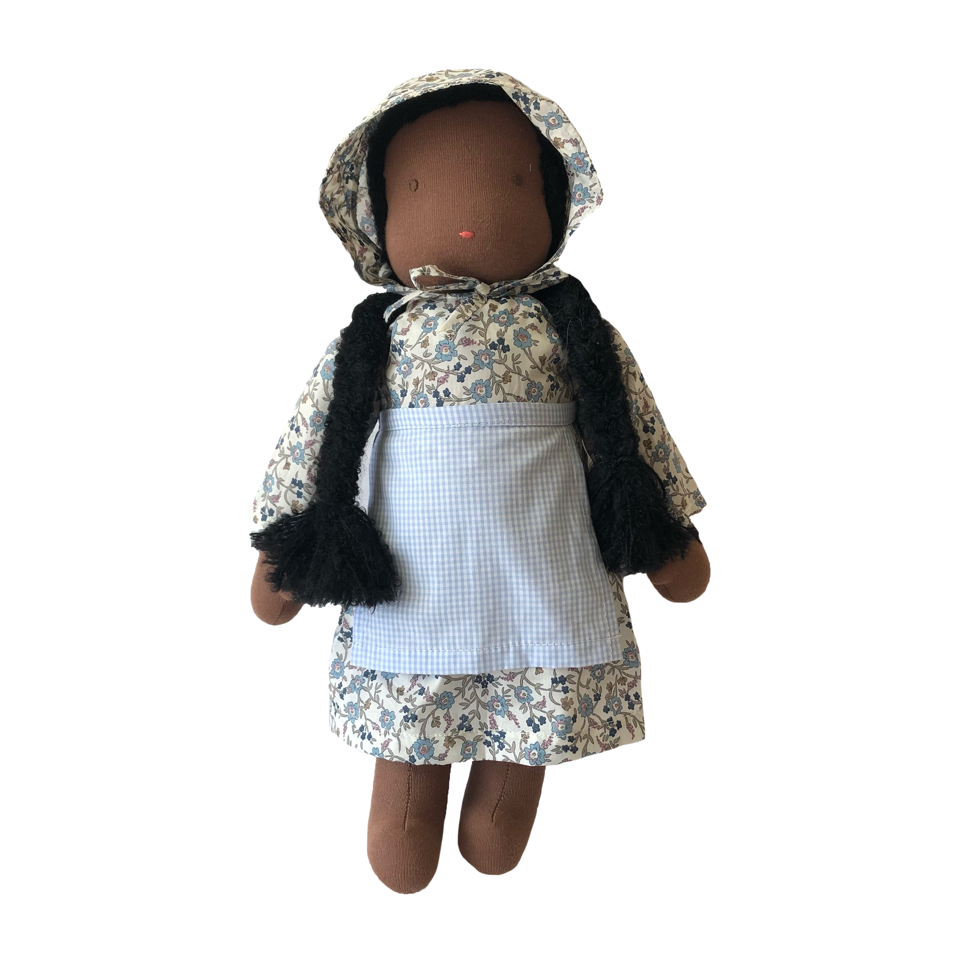 "15"" Waldorf Doll in Blue Liberty Floral Dress · Black"