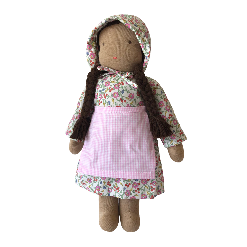 "15"" Waldorf Doll in Pink Liberty Floral Dress · Brown"