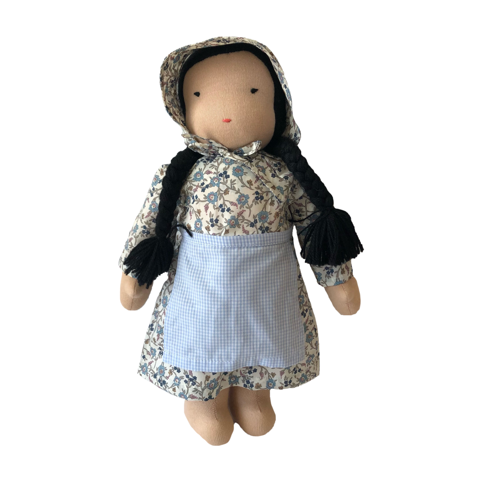 "15"" Waldorf Doll in Blue Liberty Floral Dress · Fair"