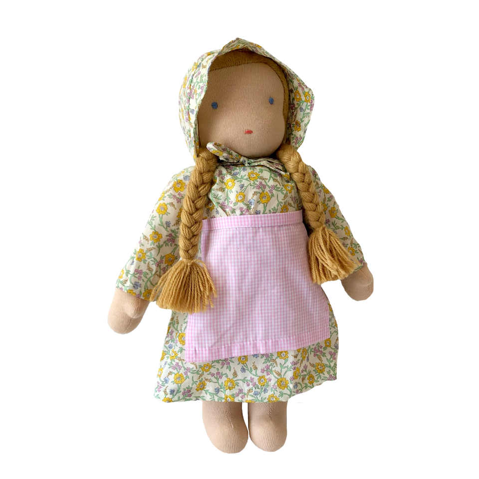 "15"" Waldorf Doll in Yellow Liberty Floral Dress · White"