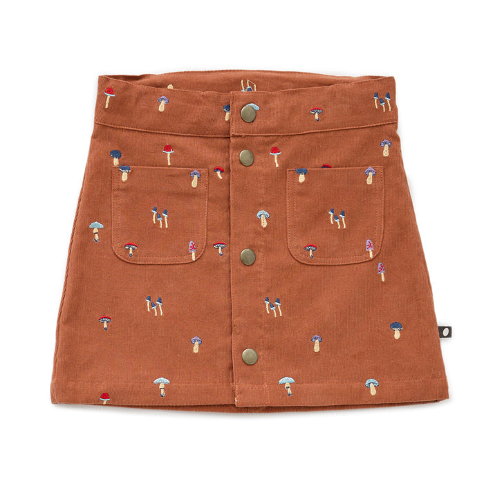 Oeuf Autumnal Mushroom Corduroy Snap Front Skirt